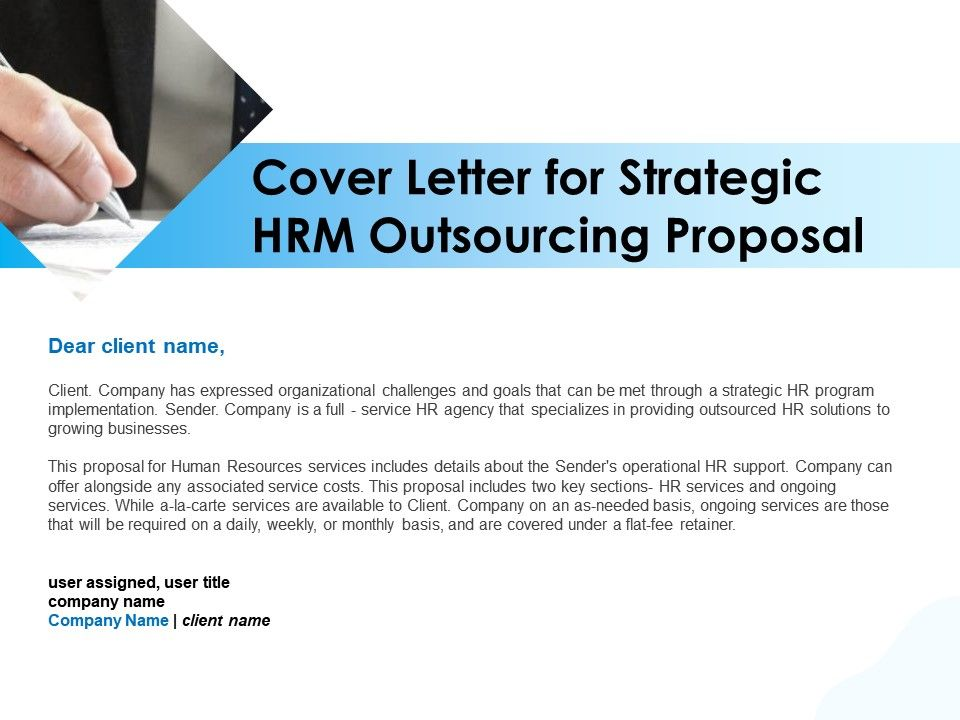 Cover Letter For Strategic HRM Outsourcing Proposal Ppt Infographics