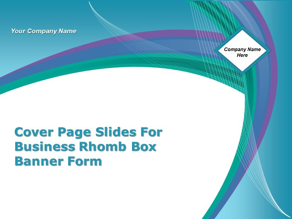 Cover Page Slides For Business Rhomb Box Banner Form Ppt