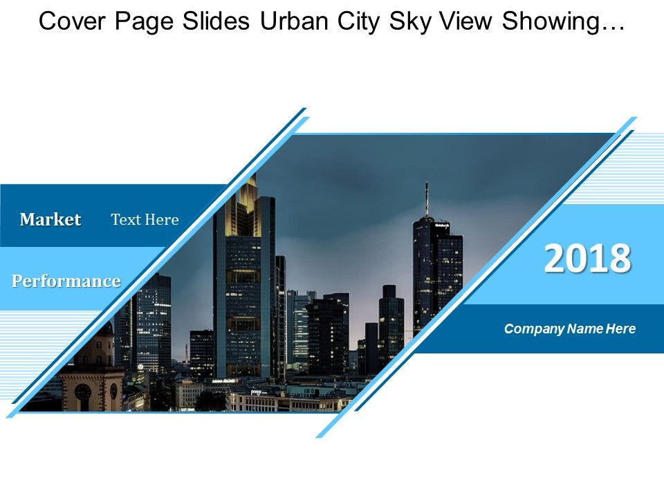 Cover Page Slides Urban City Sky View Showing Market