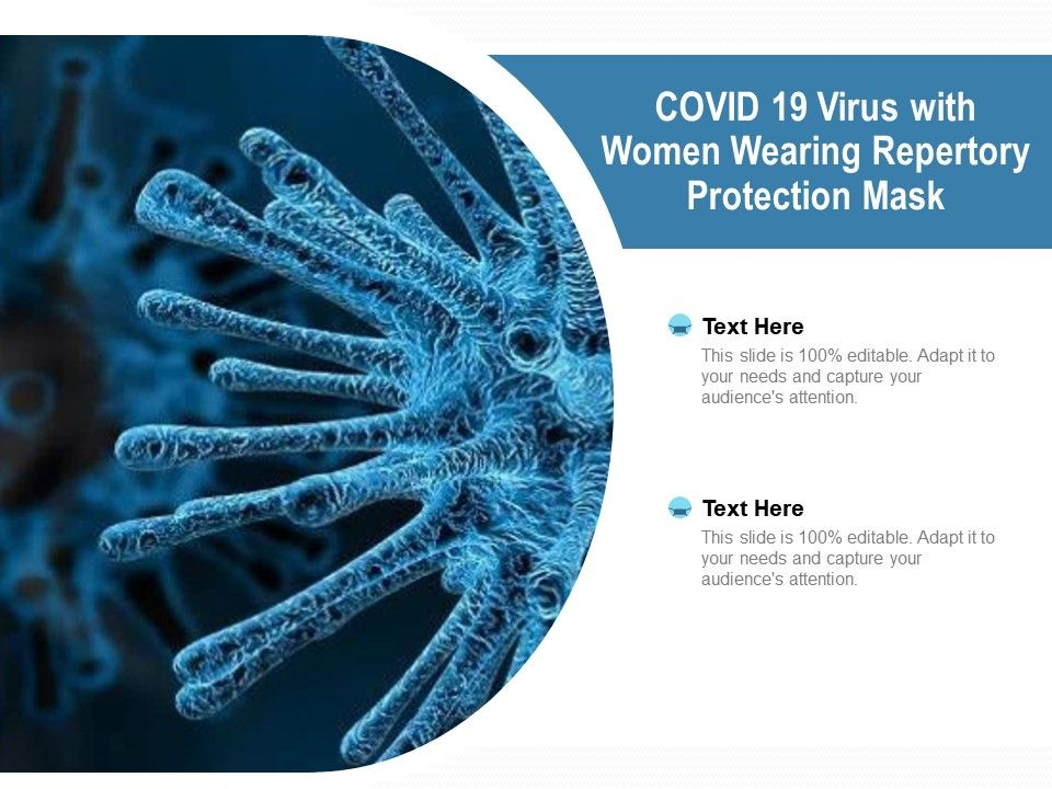 COVID 19 Virus With Women Wearing Repertory Protection Mask