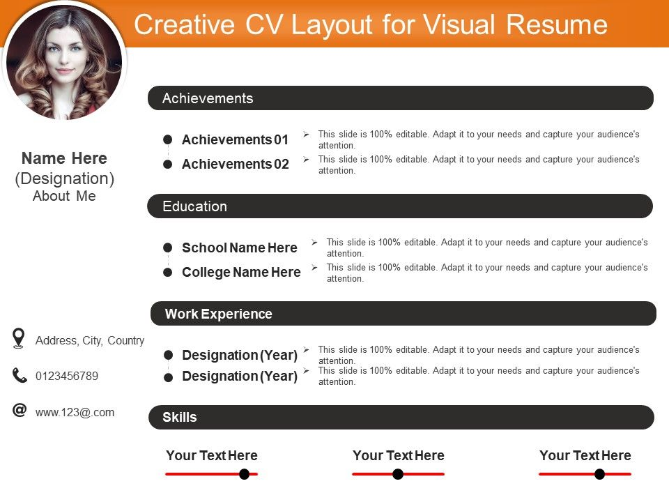 creative cv layout for visual resume templates powerpoint slides