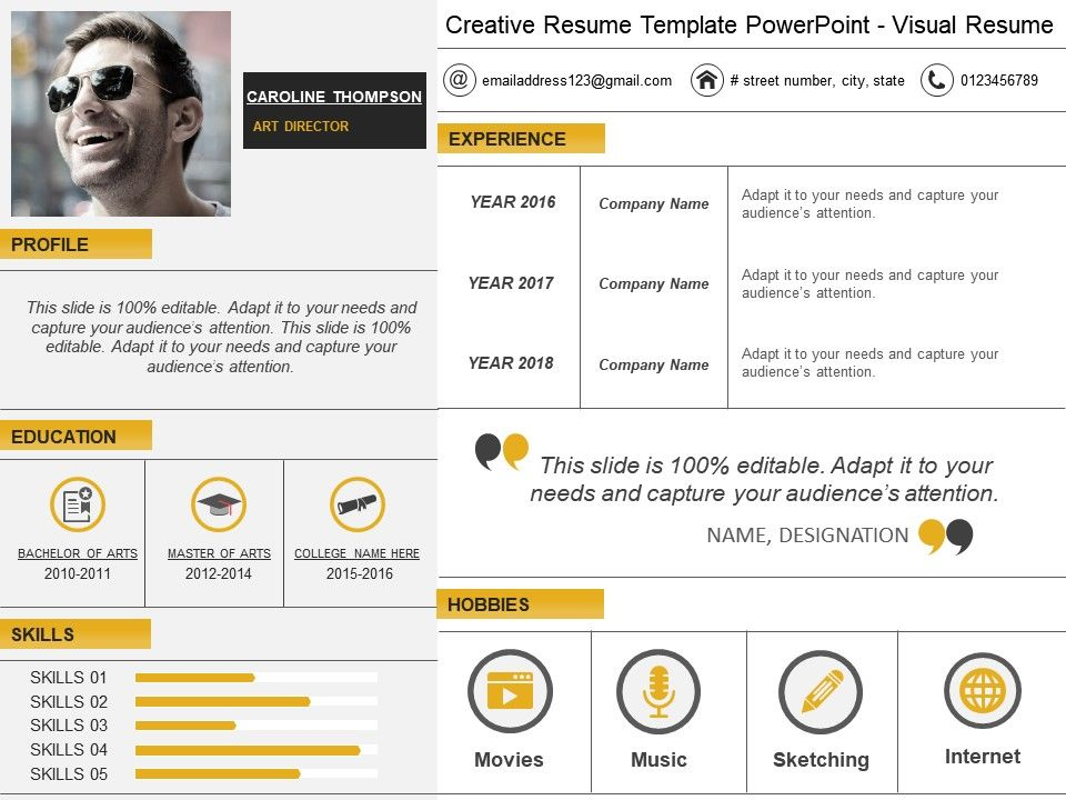 Creative Resume Template Powerpoint Visual Resume  Powerpoint Slide
