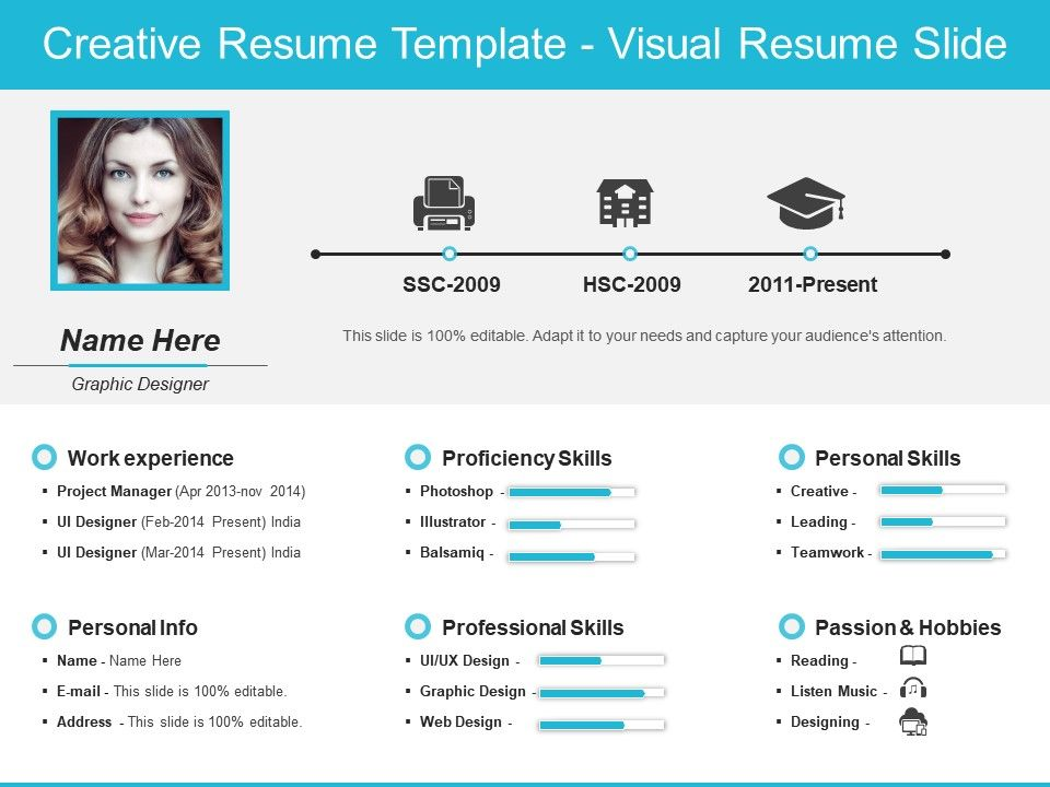 creative resume template visual resume slide