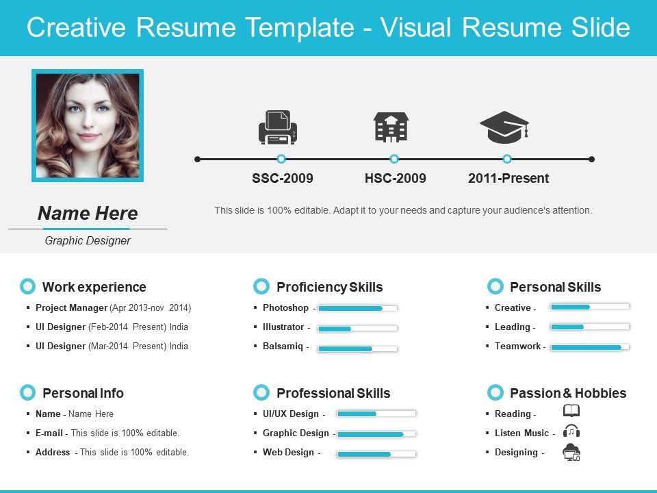 creative resume template visual resume slide