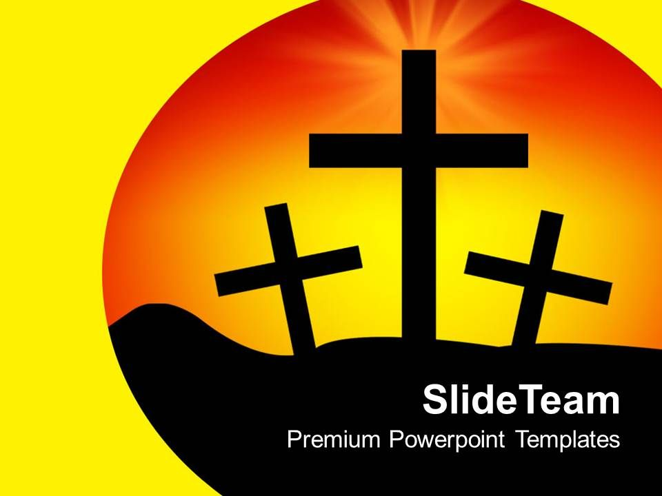 Cross Symbols Yellow Background Jesus Religion Powerpoint