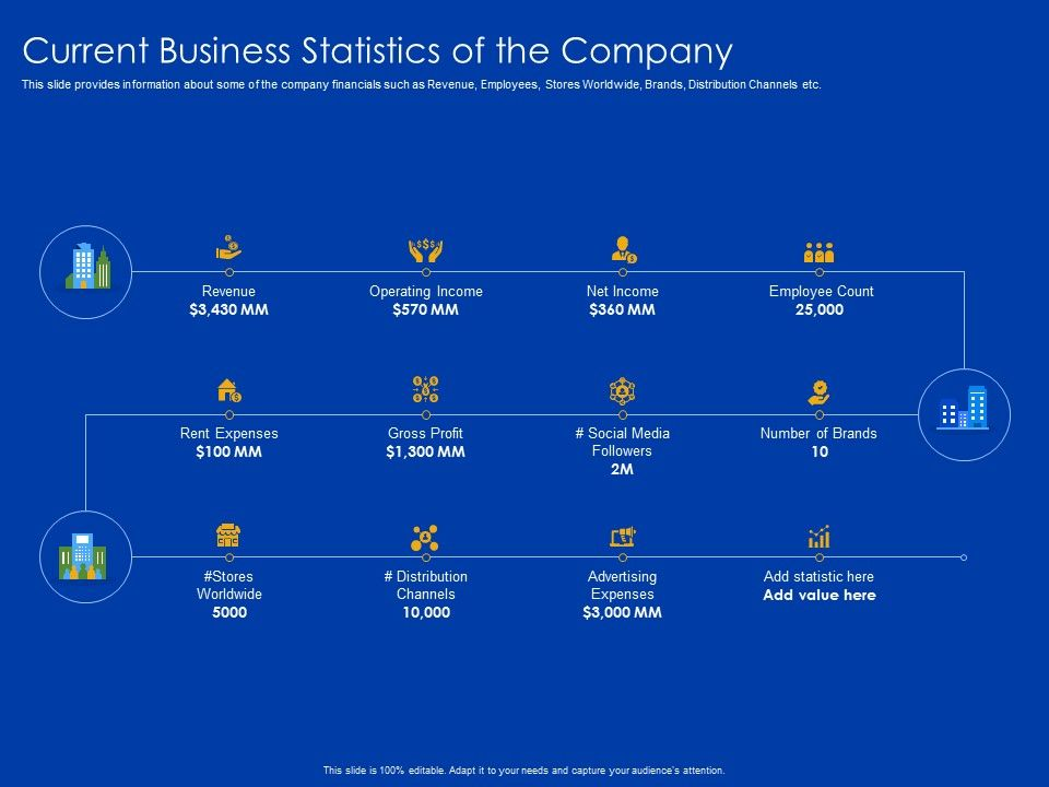 Current Business Statistics Of The Company Stores Worldwide Ppt Pictures