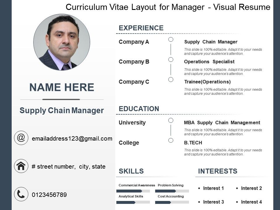 curriculum vitae layout for manager visual resume