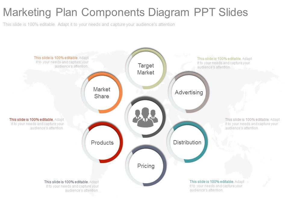 Custom Marketing Plan Components Diagram Ppt Slides | Templates