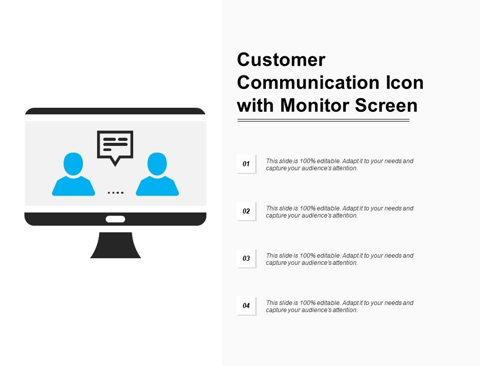 Customer Communication Icon With Monitor Screen