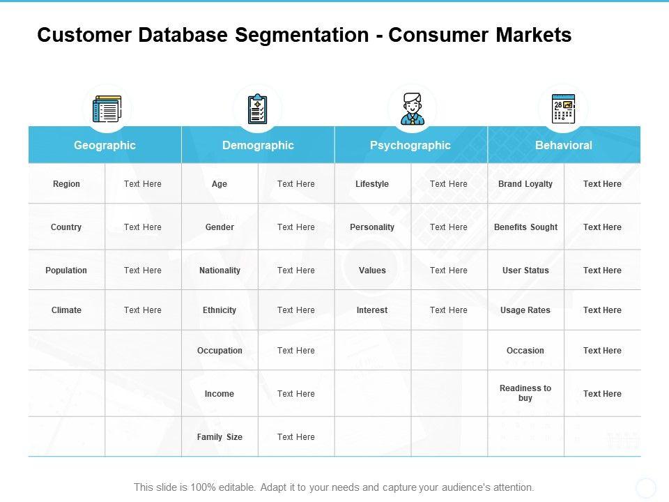 Customer Database Segmentation Consumer Markets Geographic Ppt Powerpoint Presentation