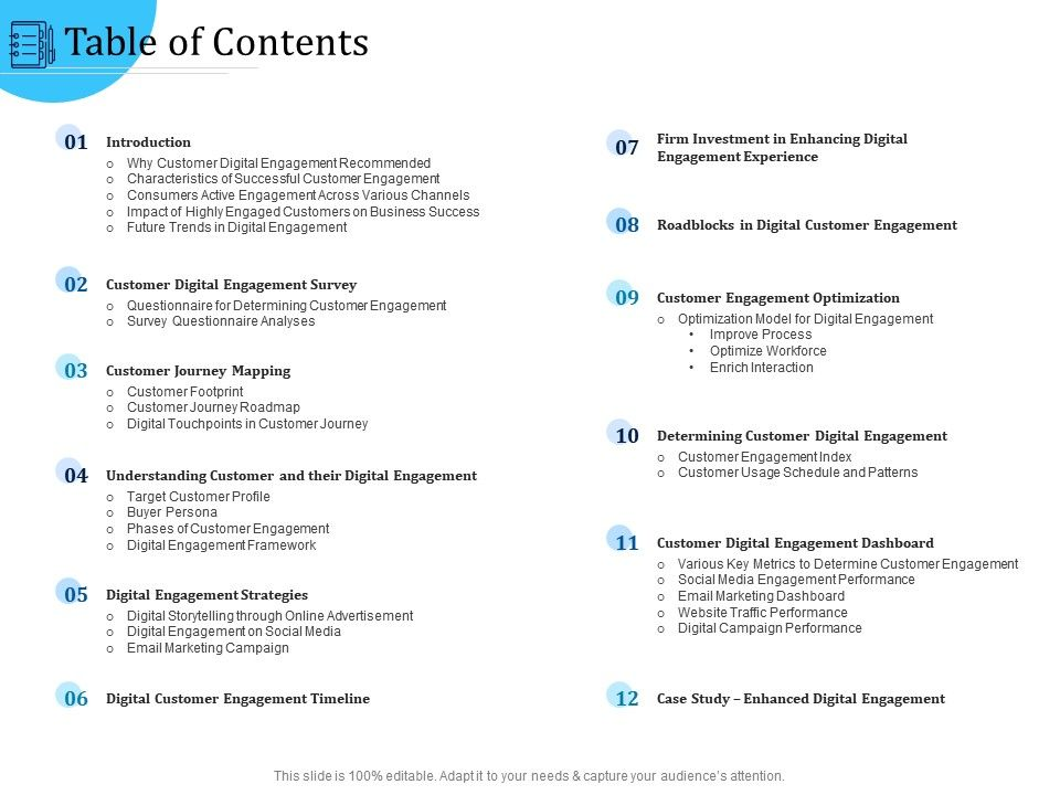 Customer Engagement Optimization Table Of Contents Ppt File Formats