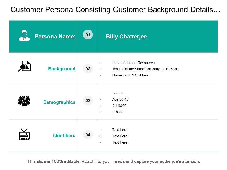 Customer Persona Consisting Customer Background Details Demographics ...