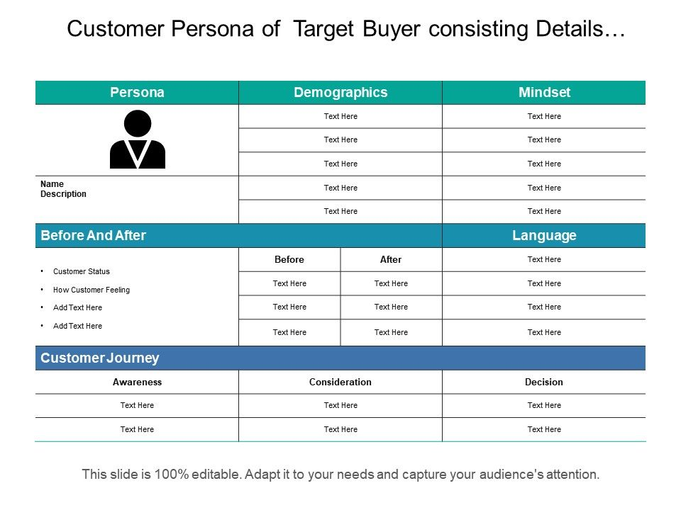 Customer Persona Of Target Buyer Consisting Details Of Demographics ...