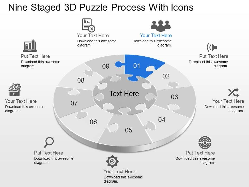 cv_nine_staged_3d_puzzle_process_with_icons_powerpoint_template_Slide01