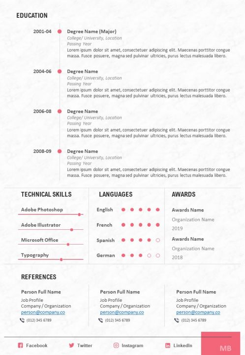 Cv Sample With Technical Skills Languages And Awards Powerpoint