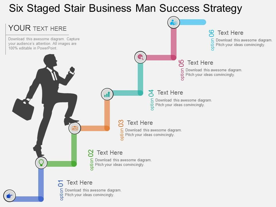 cv six staged stair business man success strategy flat powerpoint design