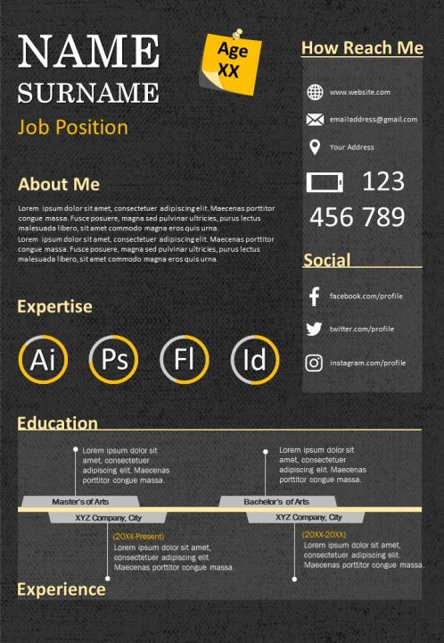 CV Template Design Editable Resume Powerpoint Presentation