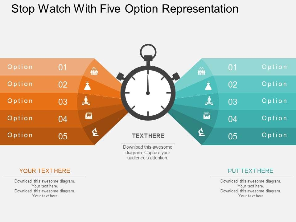 cx_stop_watch_with_five_option_representation_flat_powerpoint_design_Slide01