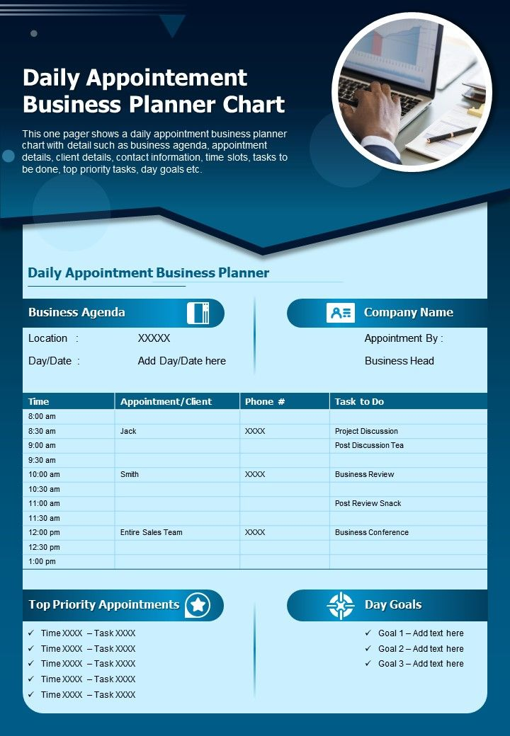 Daily Appointement Business Planner Chart Presentation Report Infographic PPT PDF Document