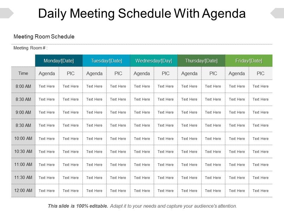 Daily Meeting Schedule With Agenda Sample Of Ppt  Ppt Images