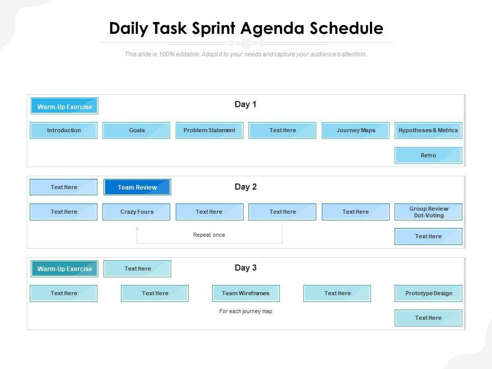 Daily Task Sprint Agenda Schedule