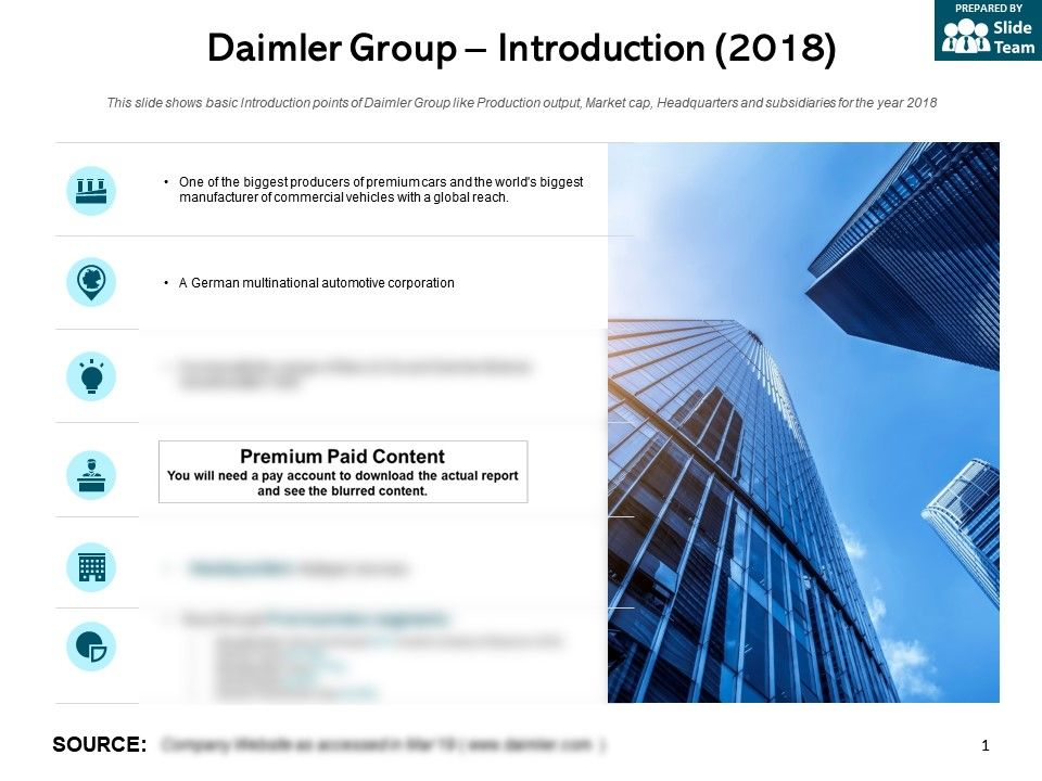 Daimler Group Introduction 2018 | PowerPoint Slide