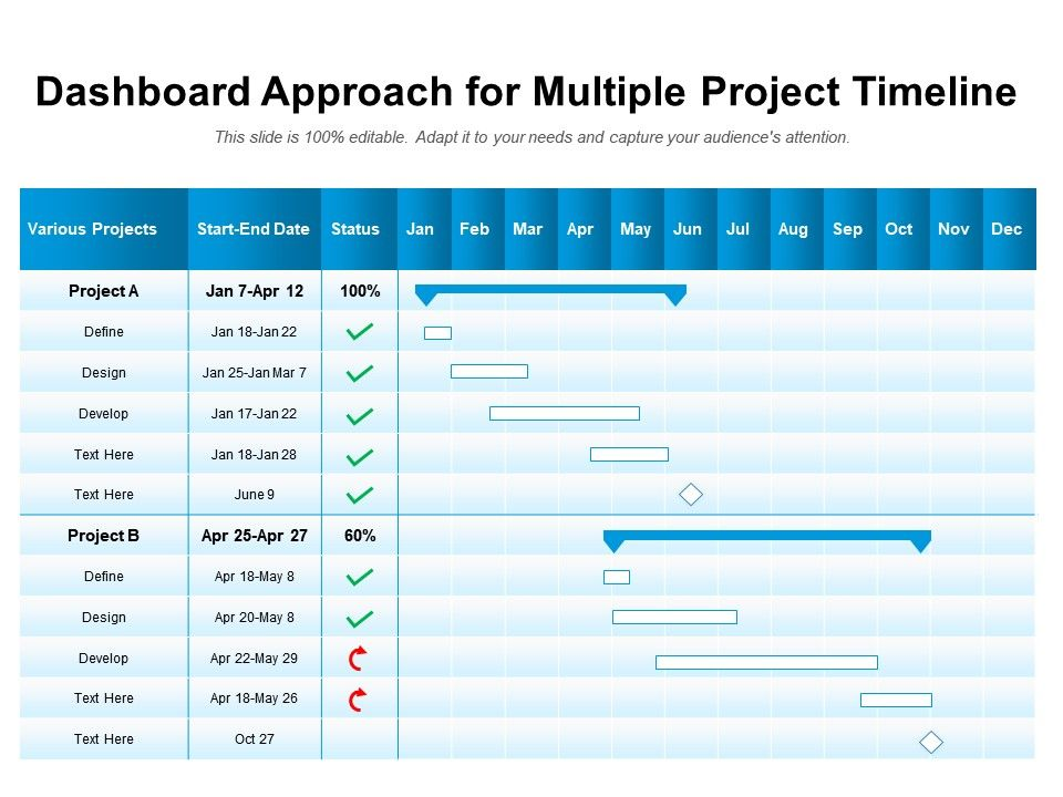 Dashboard Approach For Multiple Project Timeline