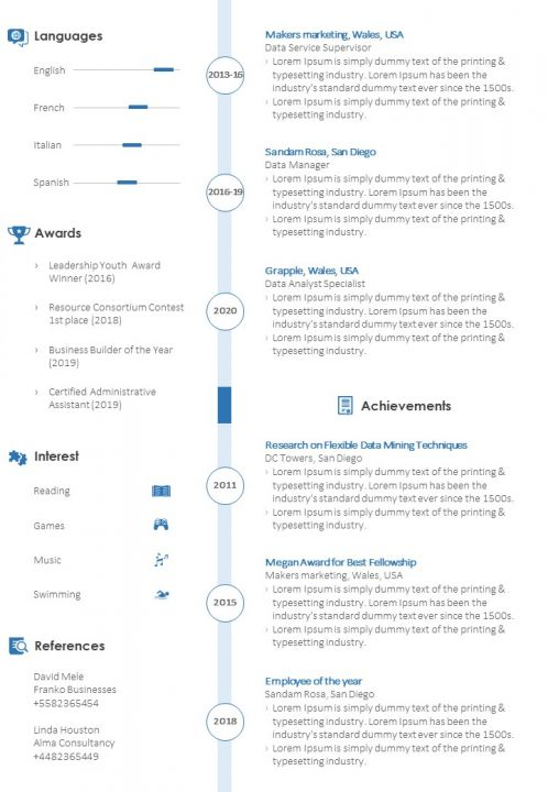 Data Analyst Sample Resume Cv Template Powerpoint Slide Templates Download Ppt Background Template Presentation Slides Images