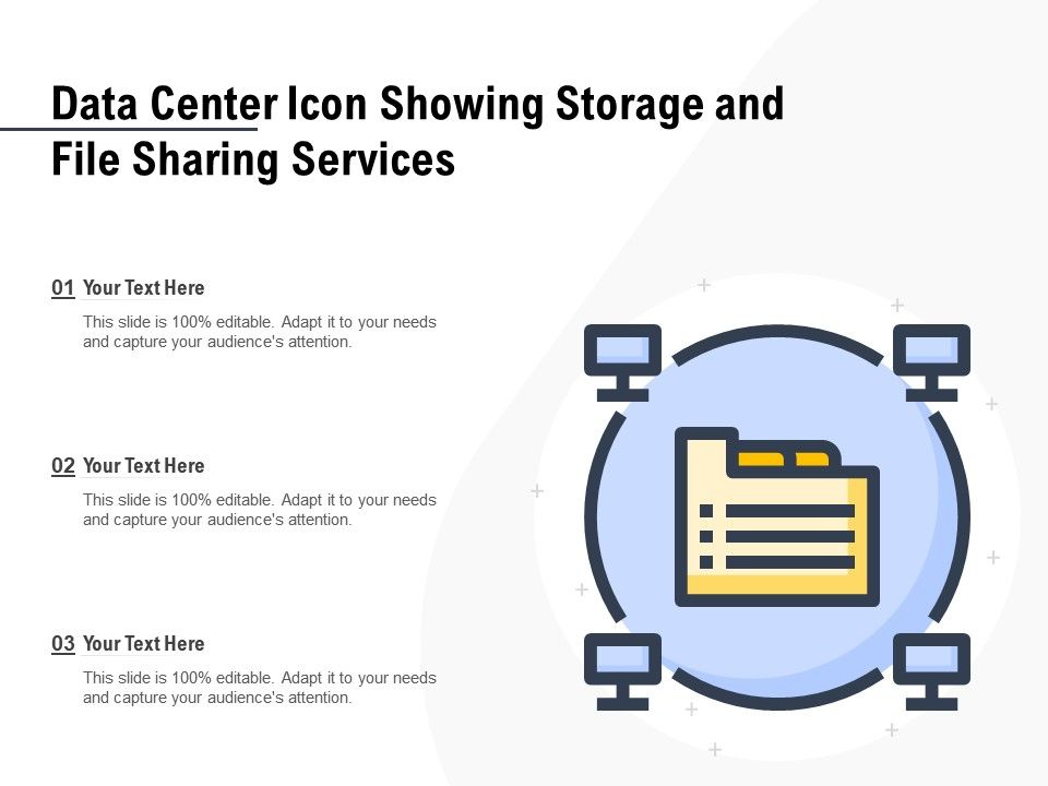 Data Center Icon Showing Storage And File Sharing Services