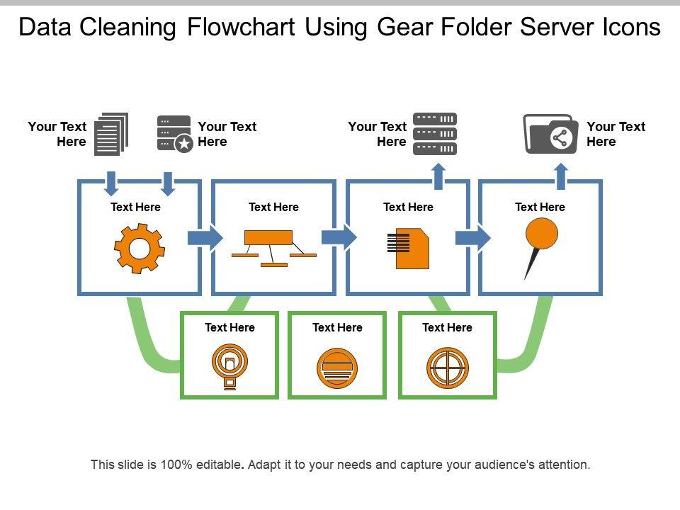Data Cleaning Flowchart Using Gear Folder Server Icons