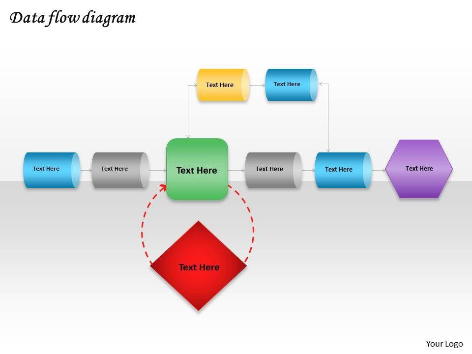 data flow powerpoint template slide