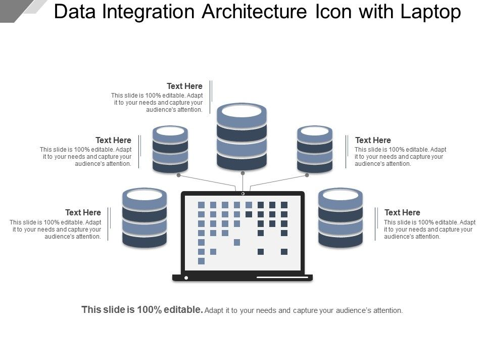 Data Integration Architecture Icon With Laptop Example Of Ppt Slide01 Slide02