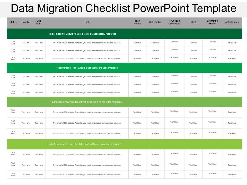 Data migration checklist powerpoint template ppt images for Data migration document template