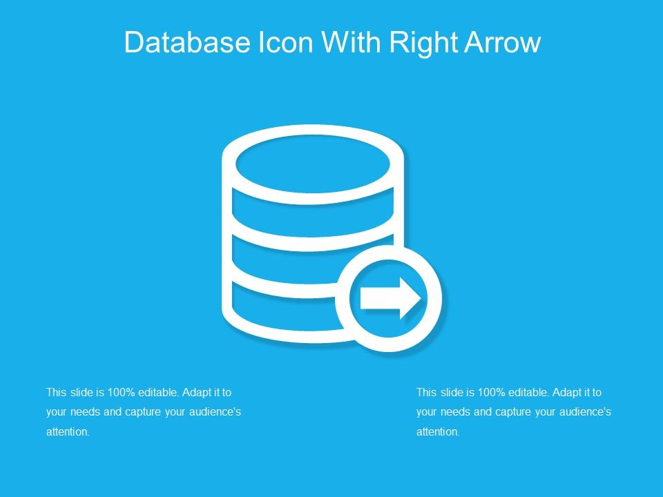 Database Icon With Right Arrow Powerpoint Design Template Sample
