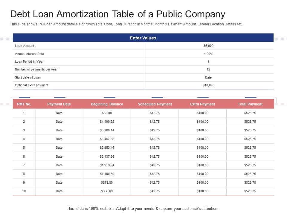 Debt Loan Amortization Table Of A Public Company Stock Market Launch Banking Institution Ppt Tips