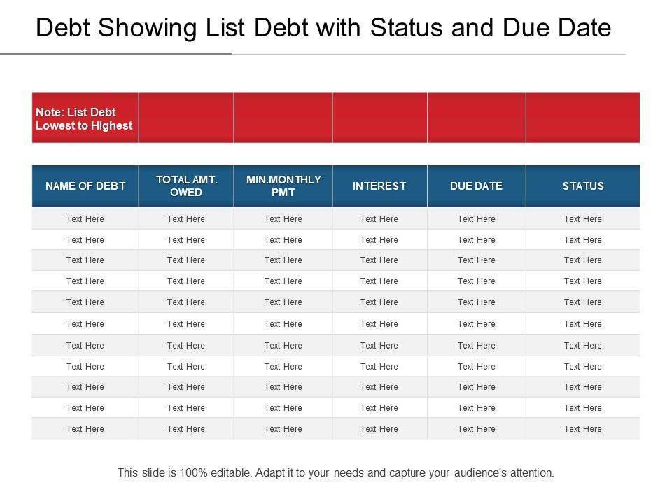 Debt Showing List With Status And Due Date Slide01 Slide02