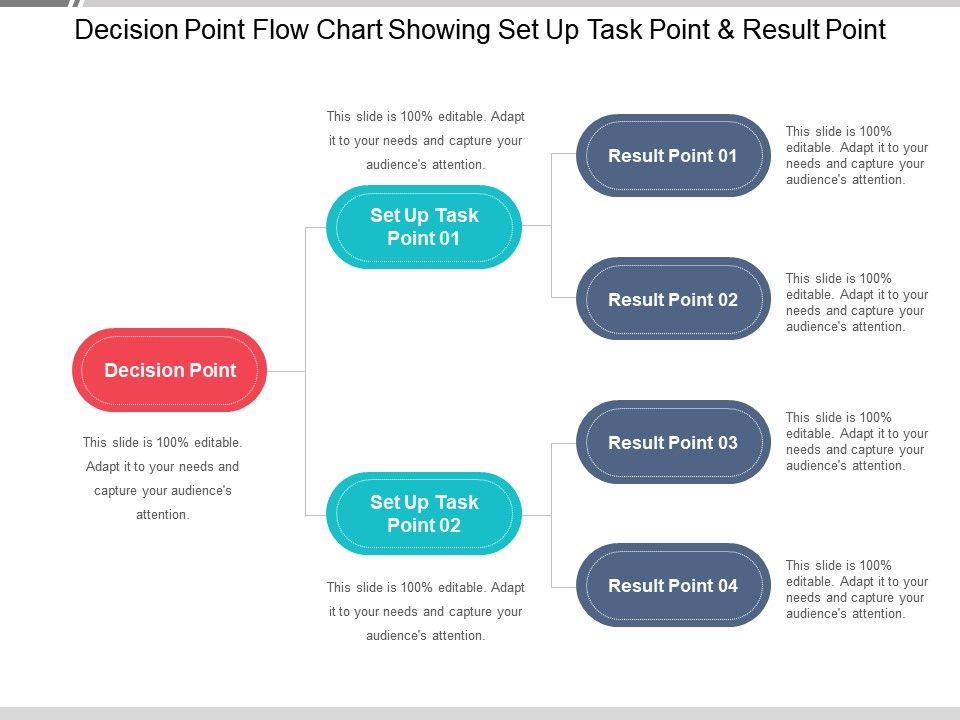 Decision Point Flow Chart Showing Set Up Task And Result Slide01 Slide02