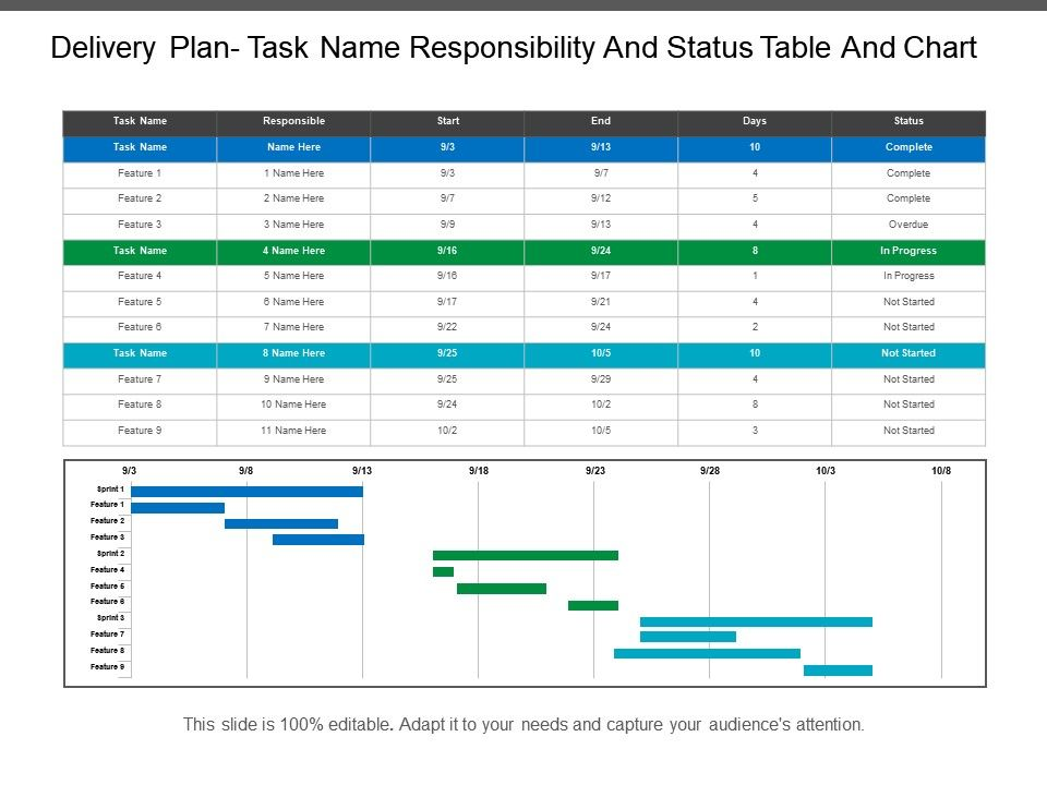 Delivery Plan Task Name Responsibility And Status Table And Chart