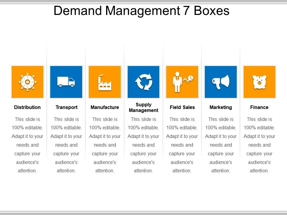 Demand management 7 boxes powerpoint templates download for Demand management plan template