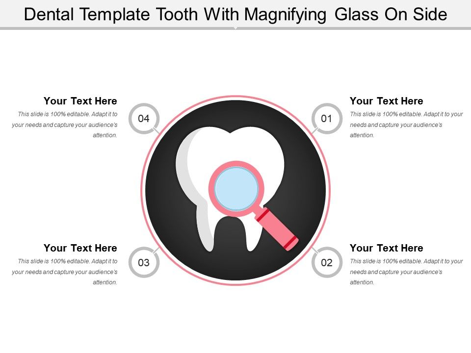 Dental Template Tooth With Magnifying Glass On Side Powerpoint