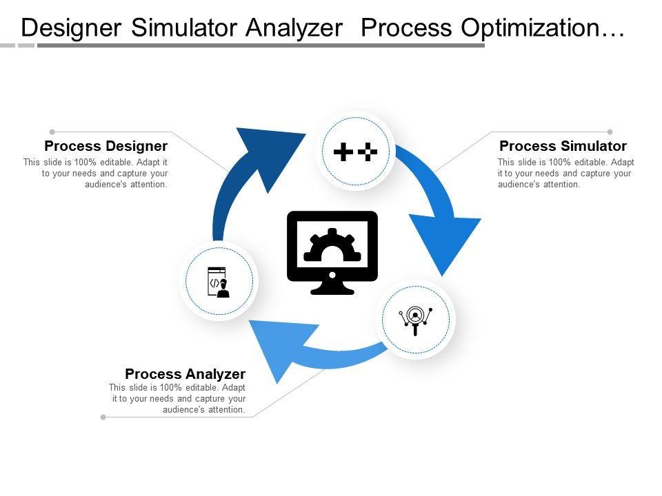 designer_simulator_analyzer_process_optimization_with_arrows_and_icons_Slide01