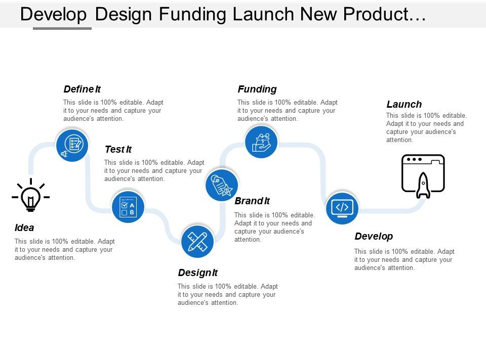 develop_design_funding_launch_new_product_development_process_with_icons_Slide01