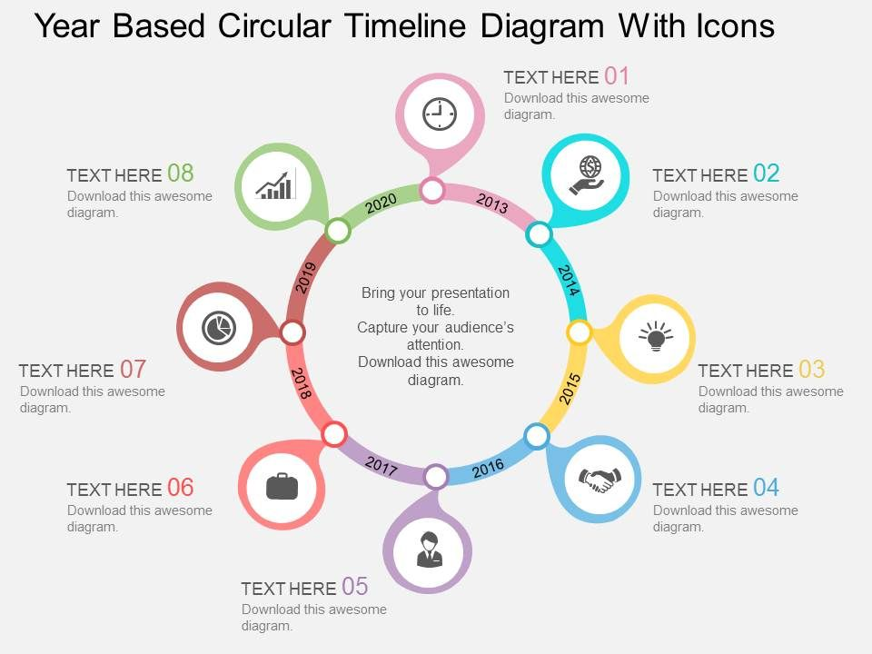 di Year Based Circular Timeline Diagram With Icons Flat Powerpoint ...