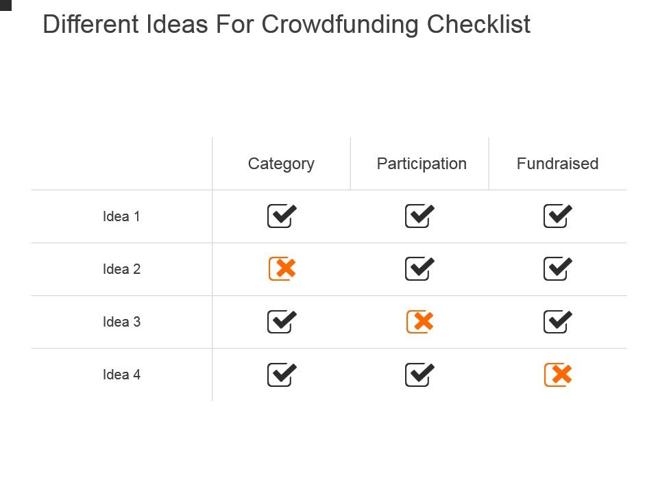 different_ideas_for_crowdfunding_checklist_powerpoint_show_Slide01