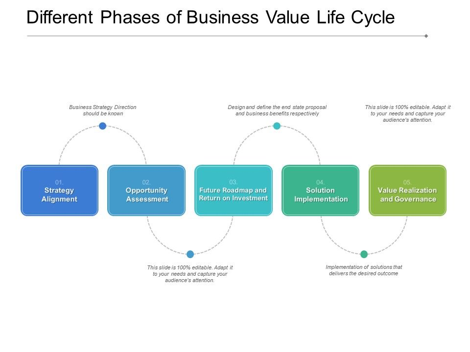 Different Phases Of Business Value Life Cycle Powerpoint Presentation Pictures Ppt Slide Template Ppt Examples Professional