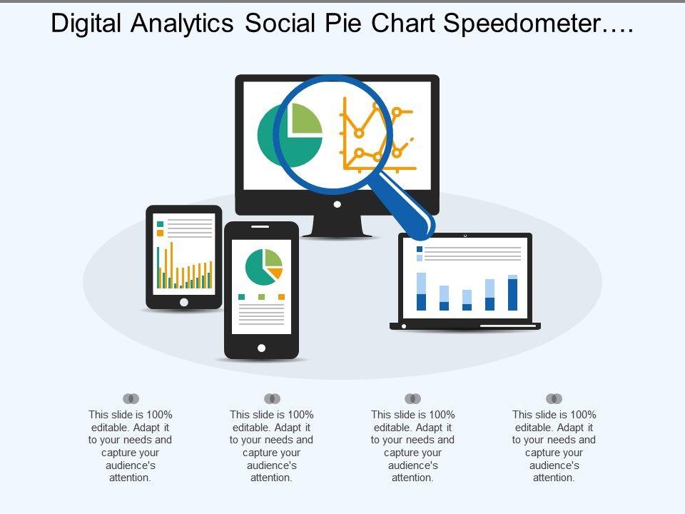 Digital analytics social pie chart speedometer magnifying glass.