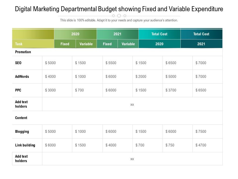 Digital Marketing Departmental Budget Showing Fixed And Variable Expenditure
