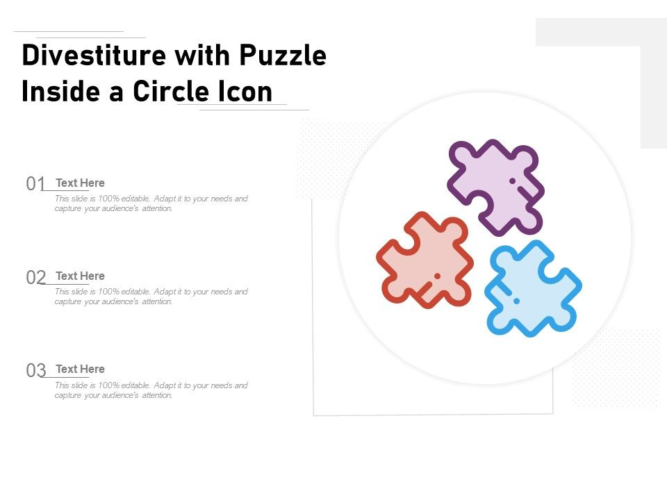 Divestiture With Puzzle Inside A Circle Icon