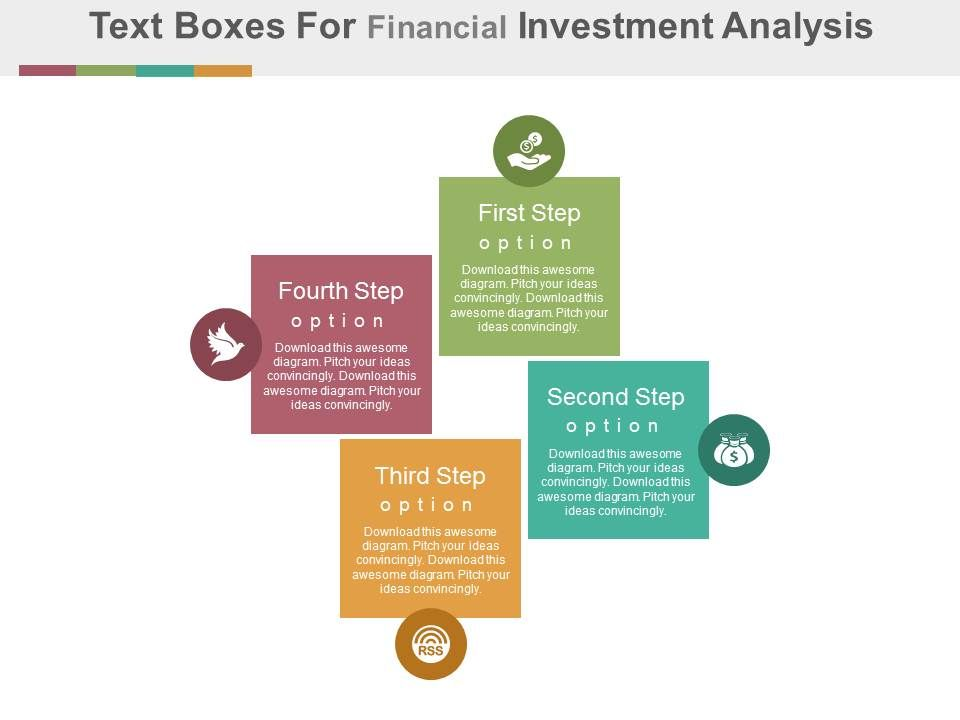 Dm Four Text Boxes For Financial Investment Analysis Flat Powerpoint
