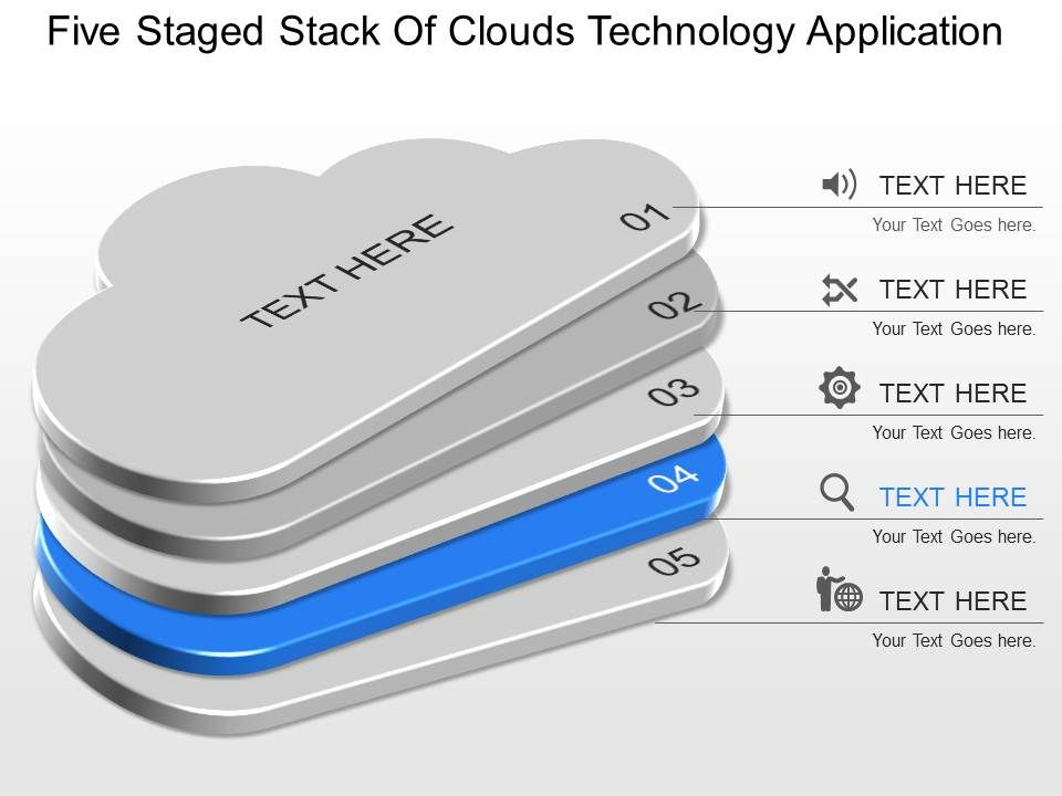 dn Five Staged Stack Of Clouds Technology Application Powerpoint ...